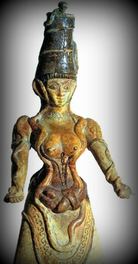 x faience snake goddess vignette