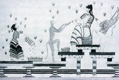 akrotiri-goddess-griffin-fresco-black-and-white-drawing